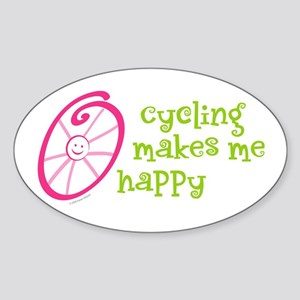 Happy Cycling Oval Sticker